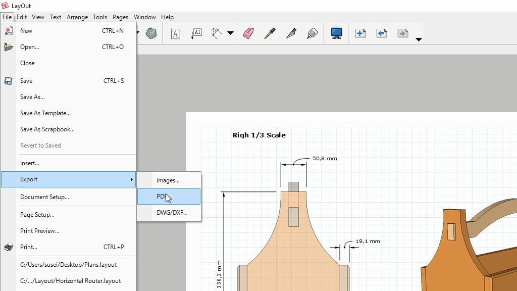 sketchup-export-layout-printing-woodworking-plans