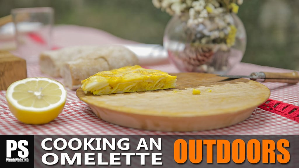 Cooking an omelette outdoors