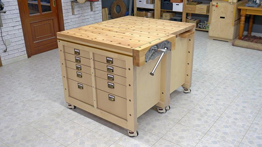 Homemade-modular-workbench-mobile-tool-stand-together