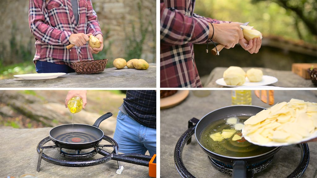Cooking-omelette-outdoors-potatoes