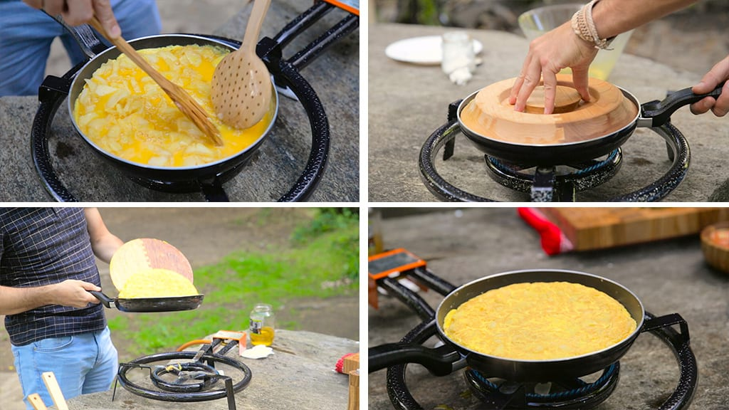 Cooking-omelette-outdoors-flipper