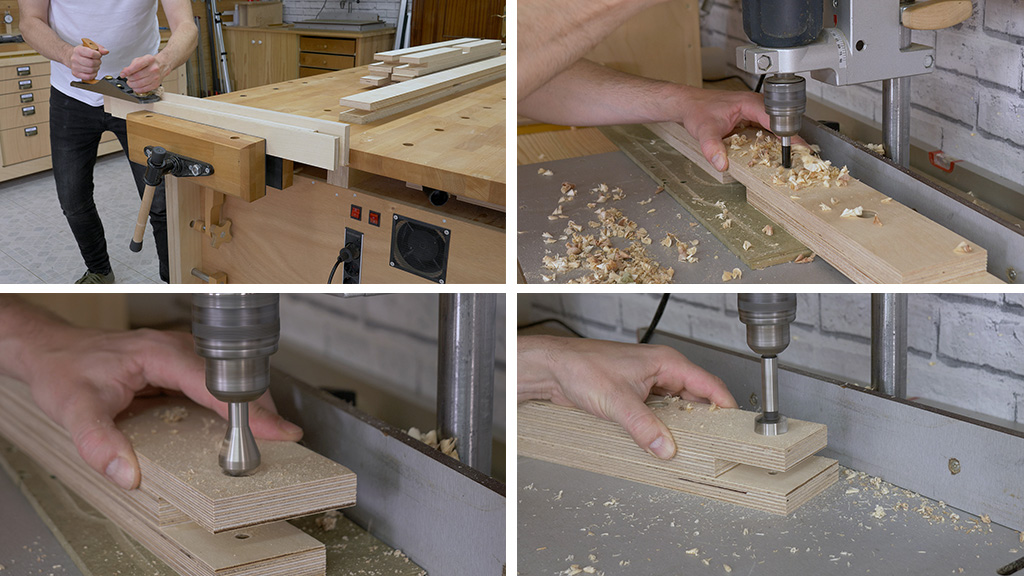 How-drill-diy-mobile-workbench-plywood-frame-holdfast
